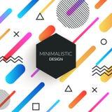 El fondo retro del estilo abstracto de Memphis con formas geométricas simples multicoloras y la copia espacian el marco triángulo stock de ilustración