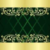 el fondo Rifle-verde adornó una frontera del oro. Foto de archivo