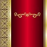El fondo rojo adornó una frontera de oro. Imagen de archivo