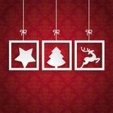 El fondo rojo adorna la Navidad de 3 marcos Imagen de archivo libre de regalías