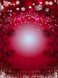 El fondo rojo de la Navidad con nieve y el pino negro atavía, papel pintado chispeante del vector de las vacaciones de invierno imagen de archivo libre de regalías