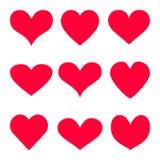 El fondo rojo del icono del vector del corazón fijó para el día del ` s de la tarjeta del día de San Valentín, ejemplo médico, sí ilustración del vector