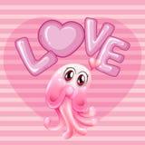 El fondo romántico con las medusas rosadas y la palabra aman Fotos de archivo libres de regalías