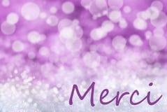 El fondo rosado de la Navidad de Bokeh, nieve, medios de Merci le agradece Fotos de archivo libres de regalías