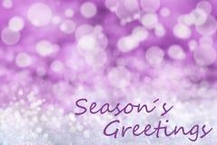El fondo rosado de la Navidad de Bokeh, nieve, texto sazona saludos Foto de archivo