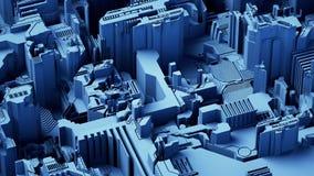 El fondo tecnológico abstracto hecho de diverso elemento imprimió la placa de circuito y llamaradas representación 3d ilustración del vector