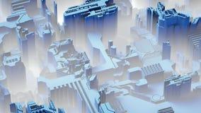 El fondo tecnológico abstracto hecho de diverso elemento imprimió la placa de circuito y llamaradas representación 3d stock de ilustración