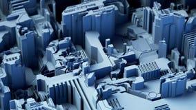 El fondo tecnológico abstracto hecho de diverso elemento imprimió a la placa de circuito y señala por medio de luces color azul r stock de ilustración