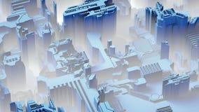 El fondo tecnológico abstracto hecho de diverso elemento imprimió a la placa de circuito y señala por medio de luces color azul r ilustración del vector