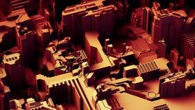 El fondo tecnológico abstracto hecho de diverso elemento imprimió a la placa de circuito y señala por medio de luces color rojo r stock de ilustración