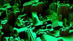 El fondo tecnológico abstracto hecho de diverso elemento imprimió a la placa de circuito y señala por medio de luces color verde  stock de ilustración