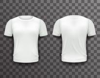 El fondo transparente del icono del diseño de Front Back Realistic 3d de la plantilla de la camiseta aisló el ejemplo del vector Foto de archivo
