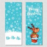 El fondo vertical del diseño de la Feliz Navidad fijó con los ciervos lindos de la historieta Fotos de archivo