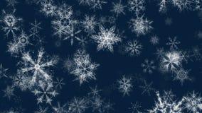 El fondo video bonito de los copos de nieve azulados de la Navidad de //1080p de la nieve que brilla 2 coloca stock de ilustración