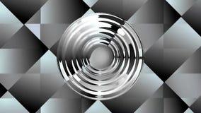 El fondo video con reflexiones del cromo en techno modeló área Elementos del círculo que se mueven sobre la superficie integrada  stock de ilustración