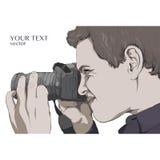 El fotógrafo mira en la lente de cámara Vector Imagen de archivo