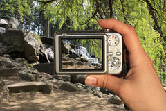 El fotógrafo toma una foto imagen de archivo libre de regalías