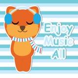 El Fox lindo escucha música en historieta del fondo, la postal de la fiesta de bienvenida al bebé, el papel pintado, y la tarjeta Fotos de archivo libres de regalías
