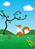 El Fox y las uvas   stock de ilustración