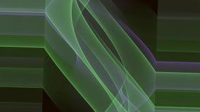 El fractal abstracto del vídeo del vfx, verde y púrpura curva la rotación en fondo negro stock de ilustración