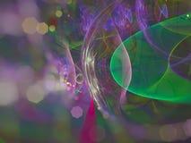 El fractal digital abstracto, rinde el diseño etéreo de la fantasía de la energía del estilo futurista ligero etéreo del papel pi stock de ilustración