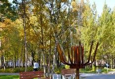 El fragmento de una fuente de trabajo con la derrota para arriba fluye del agua contra la perspectiva de árboles del otoño Imagenes de archivo