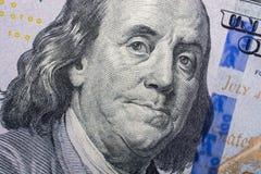 El fragmento del billete de dólar 100 Fotos de archivo libres de regalías