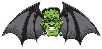El Franquear-palo con Halloween se va volando en una cabeza asustadiza libre illustration
