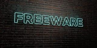 El FREEWARE - señal de neón realista en fondo de la pared de ladrillo - 3D rindió imagen común libre de los derechos stock de ilustración