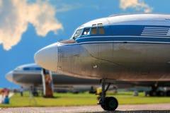El frente del aeroplano retro Imagen de archivo libre de regalías