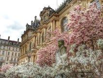 El frente del edificio en la estación de primavera, ciudad vieja de Lyon, Francia del cci Foto de archivo