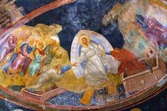 El fresco de Anastasis en el parecclesion de la iglesia del Ho Imagenes de archivo