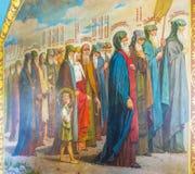 El fresco hermoso de santos en iglesia del trabajo del St Foto de archivo libre de regalías