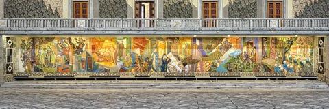 El friso del empleo en la pared del este de Pasillo principal en ayuntamiento, Noruega Oslo Fotografía de archivo libre de regalías