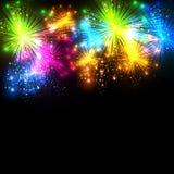 El fuego artificial de la Feliz Año Nuevo y de la Navidad vector famoso Foto de archivo