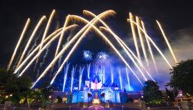 El fuego artificial famoso de las estrellas de Hong Kong Disneyland Fotografía de archivo