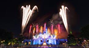 El fuego artificial famoso de las estrellas de Hong Kong Disneyland Imágenes de archivo libres de regalías