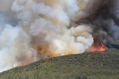 El fuego de la primavera ~ 2013 ~ llamas que alcanzan al Ridge Imágenes de archivo libres de regalías