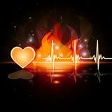 El fuego del latido del corazón significa a Valentine Day And Cardiac Fotos de archivo