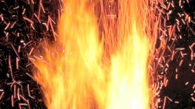 El fuego en el horno Sistema de calefacción almacen de metraje de vídeo