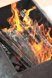 El fuego en la parrilla Imágenes de archivo libres de regalías