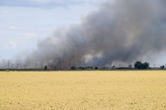 El fuego está en alguna parte más allá del campo arado Humo oscuro de un fuego Fotografía de archivo