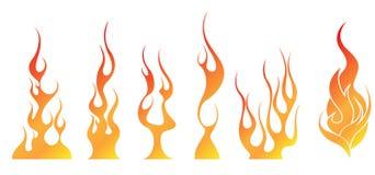El fuego flamea ejemplos Imagen de archivo