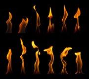 El fuego flamea la colección Foto de archivo