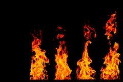 el fuego multi flamea 4 pasos amarillos, la naranja y el fuego rojo y rojo f Imagenes de archivo