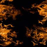 El fuego real flamea las muestras aisladas en negro Foto de archivo