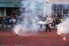 El fuego trabaja en el festival Foto de archivo