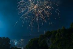 El fuego trabaja en los Años Nuevos Eve Over Adelaide CBD, sur de Australia Imagenes de archivo