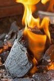 El fuego y los carbones se cierran para arriba Llamas brillantes del fuego ardiente Fotografía de archivo