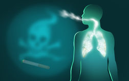 El fumar es peligroso a su salud Muestras del cigarro y de la muerte Imágenes de archivo libres de regalías